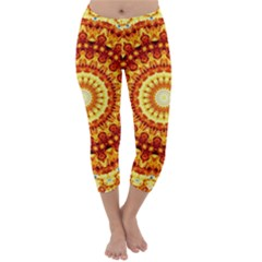 Powerful Love Mandala Capri Winter Leggings  by designworld65