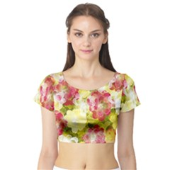 Flower Power Short Sleeve Crop Top (tight Fit)