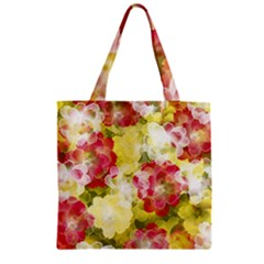 Flower Power Zipper Grocery Tote Bag