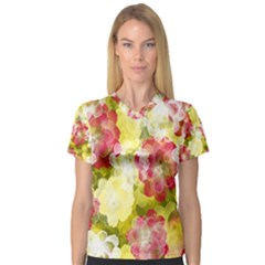 Flower Power V Neck Sport Mesh Tee