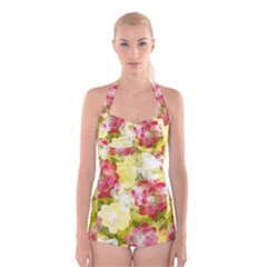 Flower Power Boyleg Halter Swimsuit