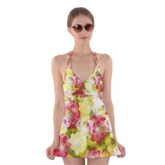 Flower Power Halter Swimsuit Dress