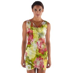 Flower Power Wrap Front Bodycon Dress