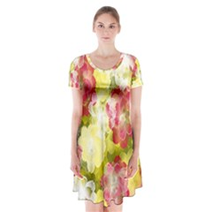 Flower Power Short Sleeve V Neck Flare Dress