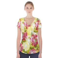 Flower Power Short Sleeve Front Detail Top