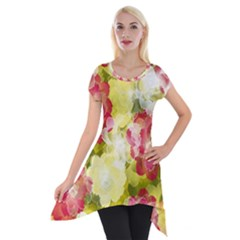 Flower Power Short Sleeve Side Drop Tunic