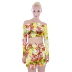 Flower Power Off Shoulder Top With Skirt Set