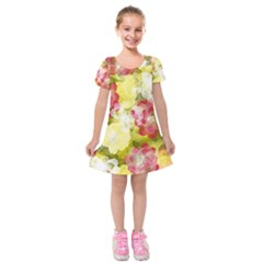 Flower Power Kids  Short Sleeve Velvet Dress