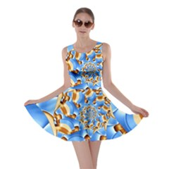 Gold Blue Bubbles Spiral Skater Dress by designworld65