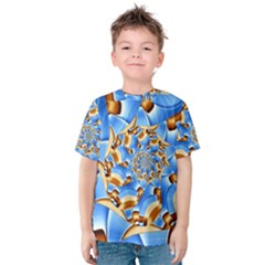Gold Blue Bubbles Spiral Kids  Cotton Tee