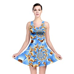 Gold Blue Bubbles Spiral Reversible Skater Dress