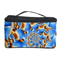 Gold Blue Bubbles Spiral Cosmetic Storage Case
