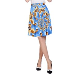 Gold Blue Bubbles Spiral A Line Skirt