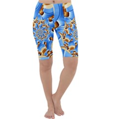 Gold Blue Bubbles Spiral Cropped Leggings