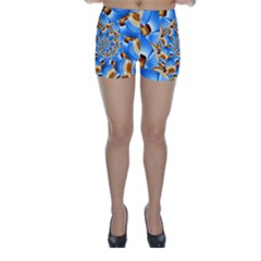 Gold Blue Bubbles Spiral Skinny Shorts