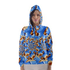 Gold Blue Bubbles Spiral Hooded Wind Breaker (women)