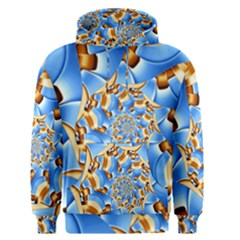 Gold Blue Bubbles Spiral Men s Pullover Hoodie