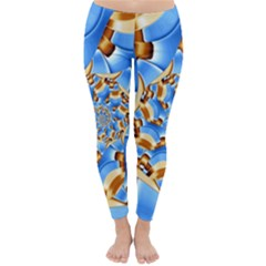 Gold Blue Bubbles Spiral Classic Winter Leggings