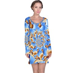 Gold Blue Bubbles Spiral Long Sleeve Nightdress