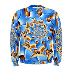Gold Blue Bubbles Spiral Men s Sweatshirt