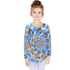 Gold Blue Bubbles Spiral Kids  Long Sleeve Tee by designworld65