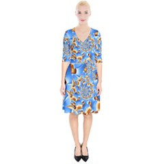 Gold Blue Bubbles Spiral Wrap Up Cocktail Dress