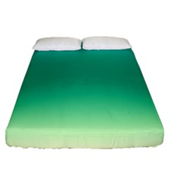 Sealife Green Gradient Fitted Sheet (queen Size) by designworld65