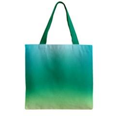 Sealife Green Gradient Zipper Grocery Tote Bag by designworld65