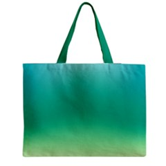 Sealife Green Gradient Zipper Medium Tote Bag