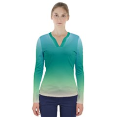 Sealife Green Gradient V Neck Long Sleeve Top