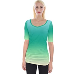 Sealife Green Gradient Wide Neckline Tee