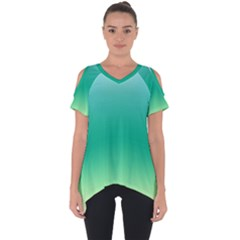 Sealife Green Gradient Cut Out Side Drop Tee