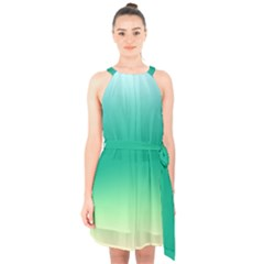 Sealife Green Gradient Halter Collar Waist Tie Chiffon Dress