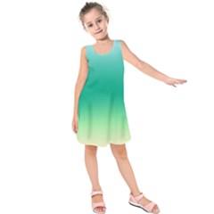 Sealife Green Gradient Kids  Sleeveless Dress