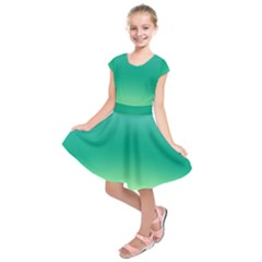 Sealife Green Gradient Kids  Short Sleeve Dress