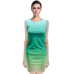 Sealife Green Gradient Sleeveless Velvet Midi Dress