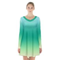 Sealife Green Gradient Long Sleeve Velvet V Neck Dress