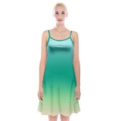 Sealife Green Gradient Spaghetti Strap Velvet Dress