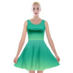 Sealife Green Gradient Velvet Skater Dress