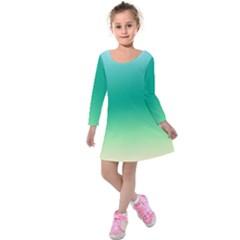 Sealife Green Gradient Kids  Long Sleeve Velvet Dress