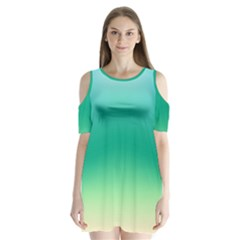 Sealife Green Gradient Shoulder Cutout Velvet  One Piece