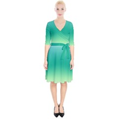 Sealife Green Gradient Wrap Up Cocktail Dress