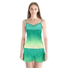 Sealife Green Gradient Satin Pajamas Set