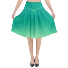 Sealife Green Gradient Flared Midi Skirt