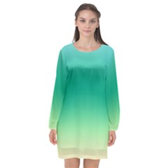 Sealife Green Gradient Long Sleeve Chiffon Shift Dress