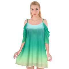Sealife Green Gradient Cutout Spaghetti Strap Chiffon Dress