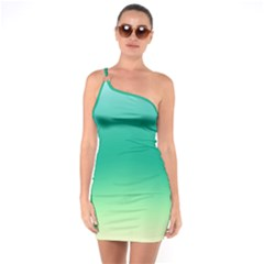 Sealife Green Gradient One Soulder Bodycon Dress