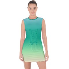 Sealife Green Gradient Lace Up Front Bodycon Dress