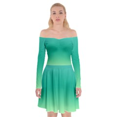 Sealife Green Gradient Off Shoulder Skater Dress