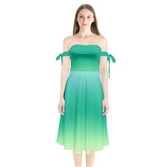 Sealife Green Gradient Shoulder Tie Bardot Midi Dress
